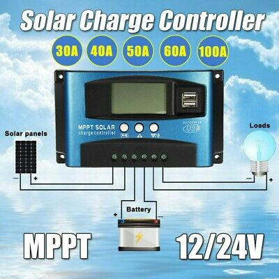 30A/40A/50A/60A/100A LCD Display MPPT Solar Charge Controller 12V/24V Charger