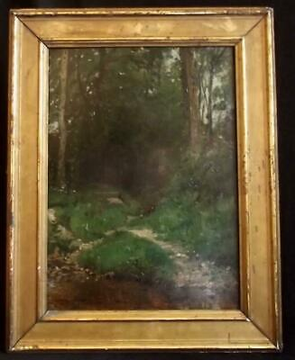 "Adrien Moreau  ""Barbizon Woodland Landscape"" Antique Signed Oil Painting c1870."