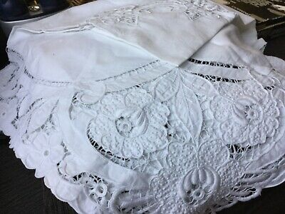 Embroidered cotton tablecloth 108cm square Hardly used Surplus to need