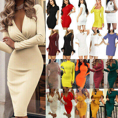 Womens Bodycon Mini Dress Evening Party Long Tops Blouse Slim T Shirt Sundress