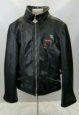 Harley Davidson Motorcycles Jacket Faux Leather Youth Girl Size L 14-16 Reverse