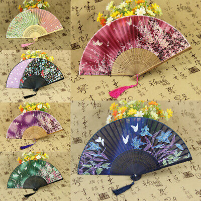 Chinese Bamboo Hand Held Silk Fabric Folding Fan Wedding Stage Party Decor Fans