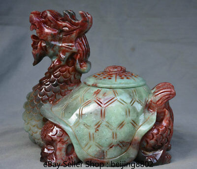"""9.6"""" Old Chinese Natural Xiu Jade Carved Dragon Tortoise Turtle Statue Censer"""