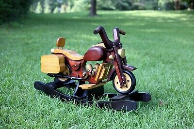 Vintage Motorcycle Wooden Harley Rocking Horse Hand Crafted EUC Collectible
