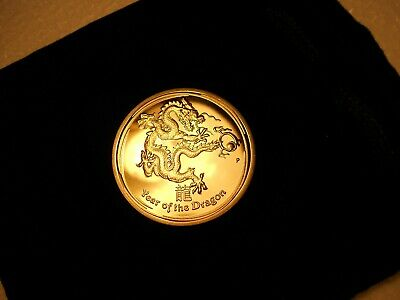 ( Mint ) => Year Of The Dragon 1Oz 9999K Gold Proof Finish Coin - New Old Stock.