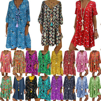 Plus Size Womens Floral Baggy Tunic Dress Ladies Summer Oversize Loose Dresses