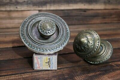 Pair Large Brass Antique Door Knob Handle Cabinet Centre