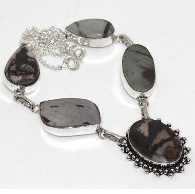 Z13984 Picasso Jasper 925 Sterling Silver Plated Necklace 17""