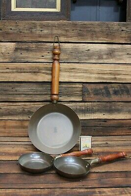 3 Vintage Retro copper Brass Pans Hanging Display Timber Sovereign Hill