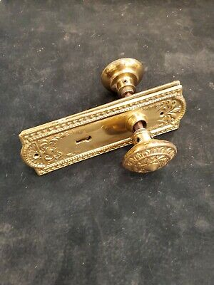 Antique Brass Door Knob Set Victorian 1800s Architectural Salvage