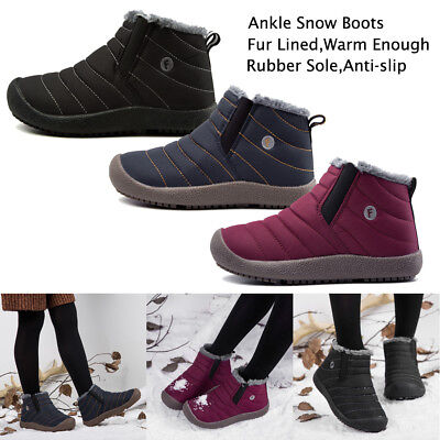 Kids Children Ankle Snow Boots Fur Lined Winter Warm Shoes Girl Boys Unisex