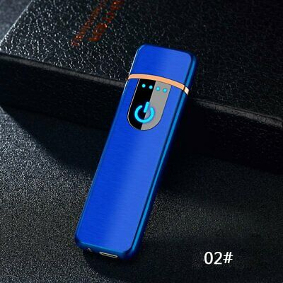 Windproof Touch Sensitive USB Charge Flameless Electric Cigarette Lighter Blue