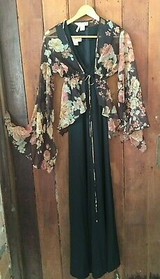 GROOVY VINTAGE 70S FORMAL/COCKTAIL MAXI DRESS by 'YOUNG DIMENSIONS'! A GEM! S-M