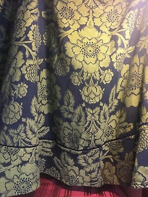 "Tablecloth Floral Woven Lime Green / Blue Round Approx. 72"" Across"