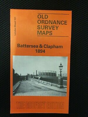 OLD ORDNANCE SURVEY MAPS BATTERSEA & CLAPHAM  LONDON 1894 Godfrey Edition