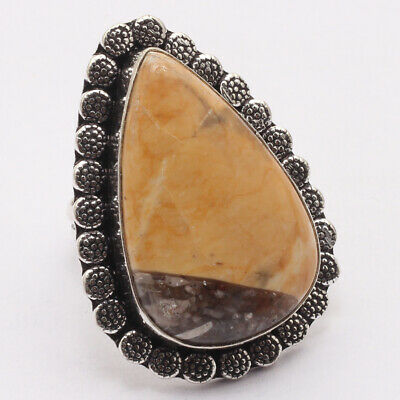 ZF418 Brecciated Mookaite & 925 Silver Plated Handmade Ring US 7.5