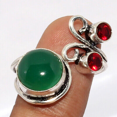 ZH4988 Green Onyx, Garnet 925 Silver Plated Ring US Adjustable Jewelry