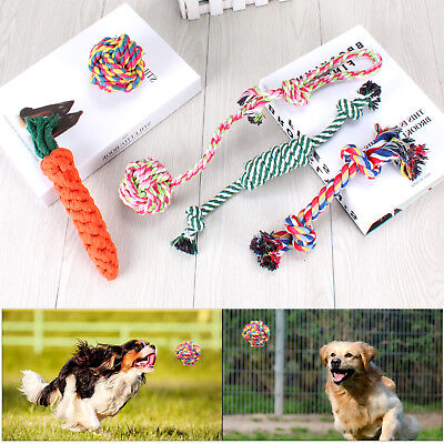 5X Dog Rope Toys Tough Strong Chew Knot Knotted Pet Puppy Healthy Teeth Bear UK