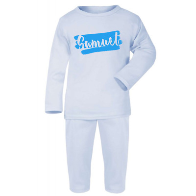Personalised Brushed Name Baby Pyjamas Pink Blue Christmas Gifts Boys Girls Pjs