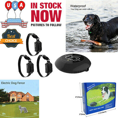 3 In 1 Wireless Electric Dog Pet Fence Containment System Transmitter Collar