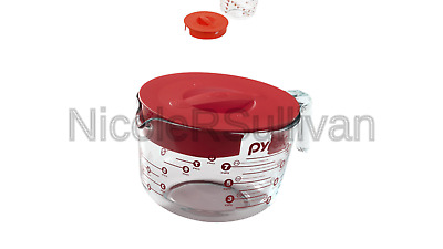 Pyrex 1055161 Prepware 8 Cup, Clear with Red Lid and Measurements 8-Cup