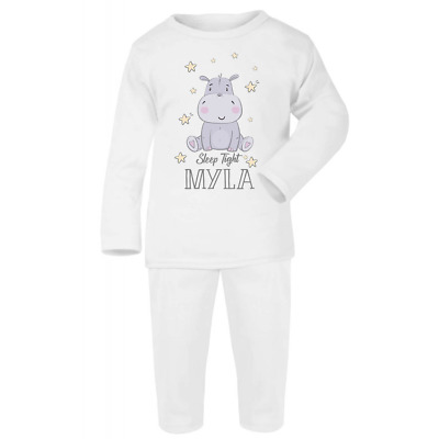 Personalised Sleep Tight Baby White Pyjamas Christmas Gifts Girls Boys Pjs