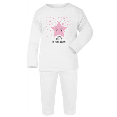 Personalised Dreams Baby White Pyjamas Christmas Gifts Girls Boys Pjs