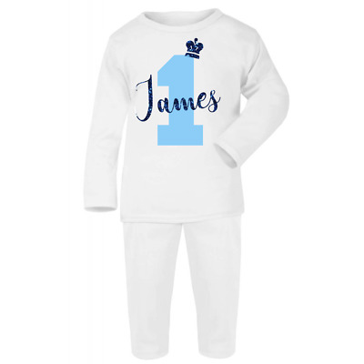 Personalised 1 and Name Prince White Pyjamas Birthday First Gift Pjs Boys Blue
