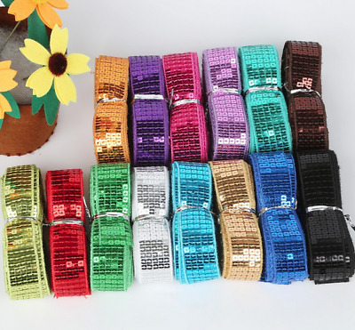5Yards Shiny Beading Sequin Ribbon 25MM Sequin Lace Trim Sewing Dress Decoration
