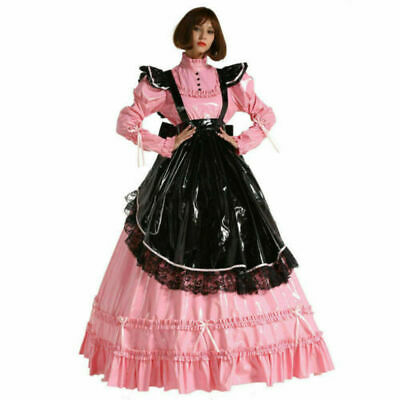 French Style PVC Sissy Maid Lockable Long Dress Costume Crossdress