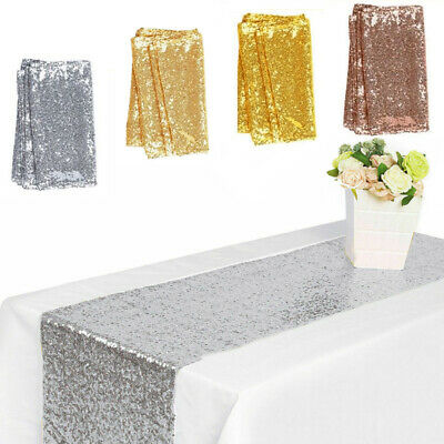 """12"""" x 72"""" Wedding Table Runner Table Flag Rectangle Tablecloth Sequins Fashion"""