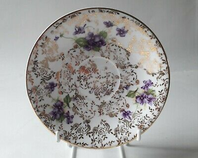 Lubern Bone China 22 kt Gold Vintage Replacement Saucers Purple Flowers Clematis