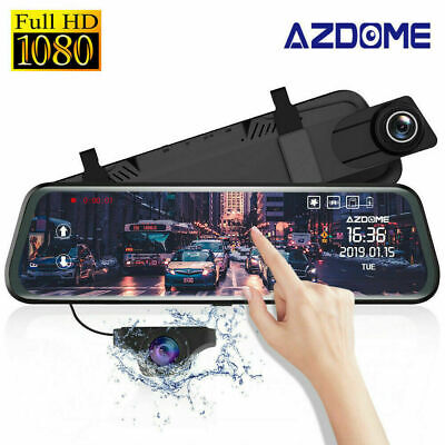 "AZDOME PG02 Car Dash Cam 1080P 720P 10"" Mirror Full Dual Lens Car DVR Parking UK"
