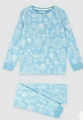 NEW Girls Pyjama Set With Stretch Blue Floral Mix Ex M&S Age 3-15 Years RRP £12
