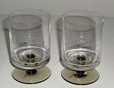 Qantas - Pair Of 1St Class Vintage Crystal Wine Glasses - Marked Rosenthal
