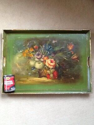 Antique Early c20th Large Green Hand Painted Floral Bouquet Still Life Tray