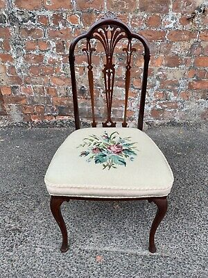 Lovely Antique Shaped Mahogany Occsional Side / Dining Chair With Tapestry Seat