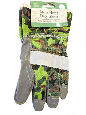 Stylish Camoflage Heavy Duty Thick Gardening Gloves Men's 1 Size Thorn Resistant