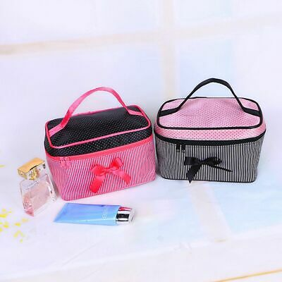 Women Portable Make-up Tools Handbag Striped Cosmetic Bag Bow Knot Makeup