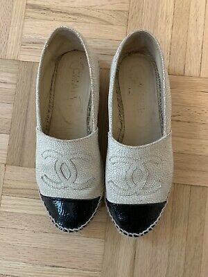 608ee63c823 NIB CHANEL CC Logo Espadrilles Flat Shoes Black Canvas / Leather Toe ...