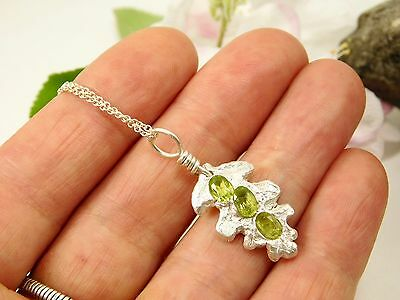 Handmade Fine Silver Faceted Peridot Oak Leaf Charm PMC Pendant/Necklace R25