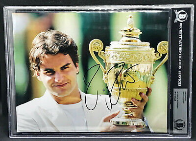 """Roger Federer """"The Greatest Of All Time"""" Autograph Signed Photo Beckett Bas 8X10"""