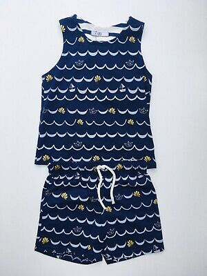 Ex M&S Girls Pyjama Set Shorty Vest Set Navy Mix Age 18-24 Months 5-6 Years