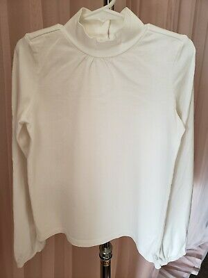 Janie & Jack White Mock Turtleneck Girls Long Shirt Balloon Sleeve Button Size 6