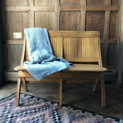 Vintage Folding Theater Seats, Wood Church Pew Bench, Antique Entryway Seating