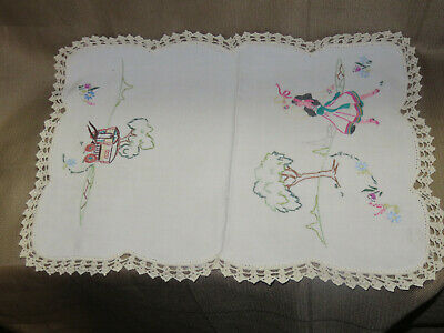 Vintage Embroidered Doily With Dancer And Wagon