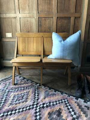 Vintage Theater Seats, Wood Folding Theatre Chairs, Entryway Bench Seating