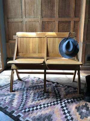 Vintage Folding Bench, Wood Theater Seats, Church Pew Bench, Entryway Seating