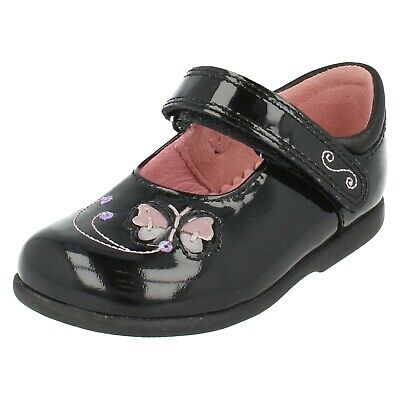 Girls Black Patent Leather Riptape Startrite School Shoes : Butterfly