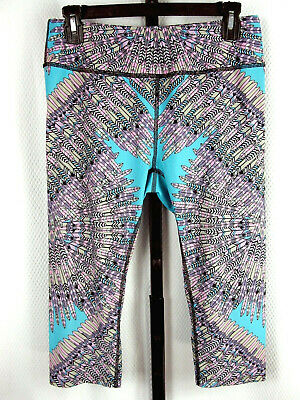 Mara Hoffman Cropped Leggings Pants Size L Skybird Turquoise Active Yoga Gym